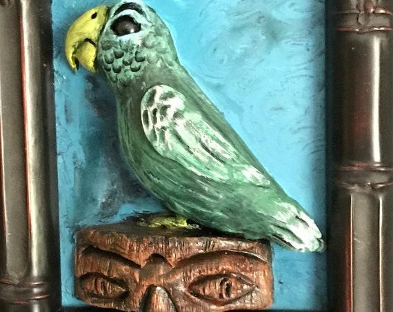 Tiki Bird and Tiki Statue Framed Original 3D sculpture green bird