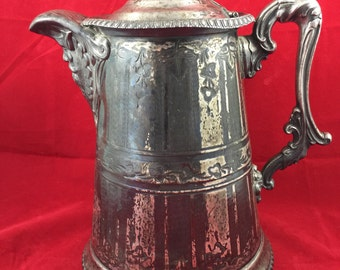 Antique Silver Plate Coffee Hot Chocolate Pot 1800s Lymons Tea Service Cream Sugar Cocoa Old Man North Wind Face Victorian Family Crest