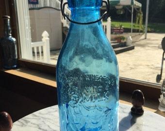 Antique Milk Bottle Cobalt Blue Glass...Grandma Wheaton's Whole Milk South Jersey's Best Dairy country Farm Barn Cows Cow calf cream butter