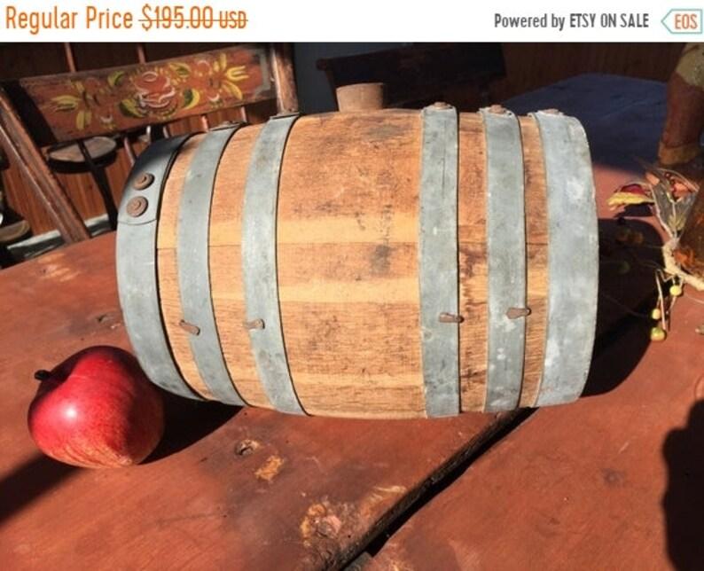 15% Off Fall Sale Vintage Wooden Whiskey Barrel / Keg / Cask image 1