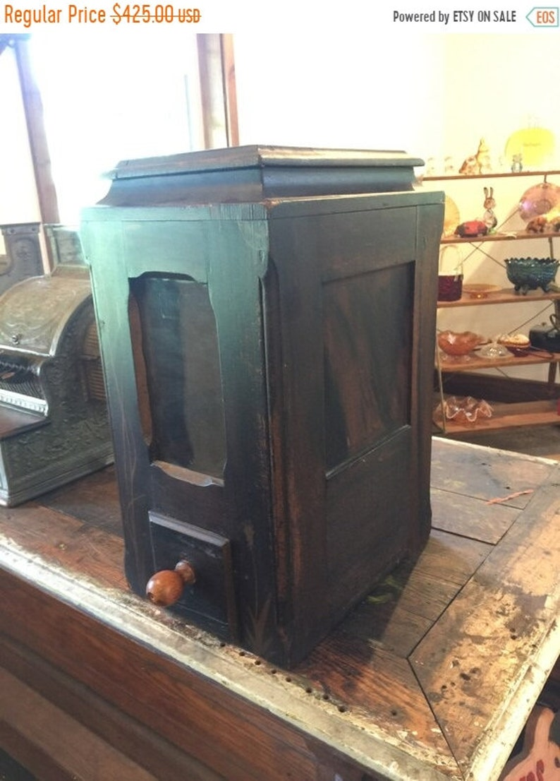 15% Off Fall Sale Antique Country Store Storage Bin Dispenser image 1