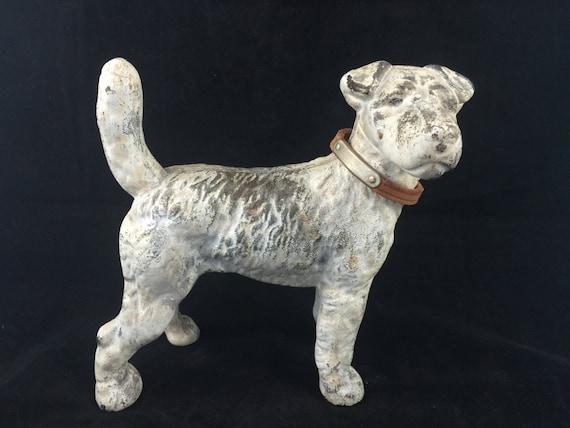 Antique Cast Iron Fox Terrier Dog Doorstop Bley Terrier Etsy