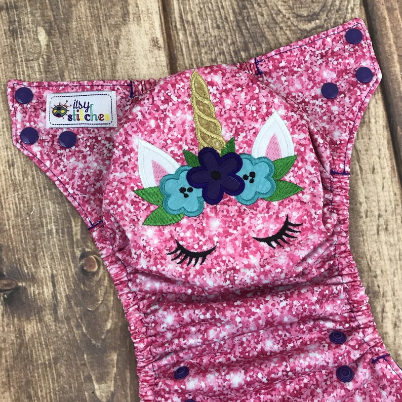 Floral Unicorn embroidered OS Pocket Diaper with Insert Made image 0