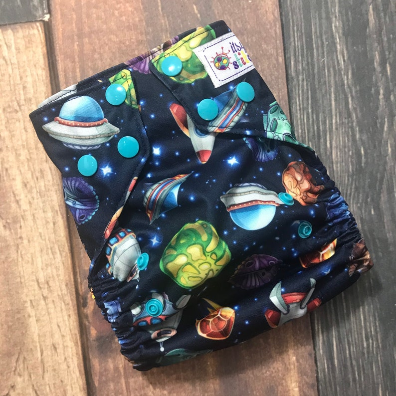 Cartoon Space OS Pocket Diaper with Insert image 0