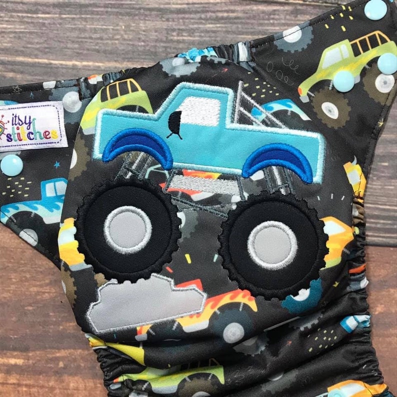 Monster Trucks embroidered OS Pocket Diaper with Insert Made image 0
