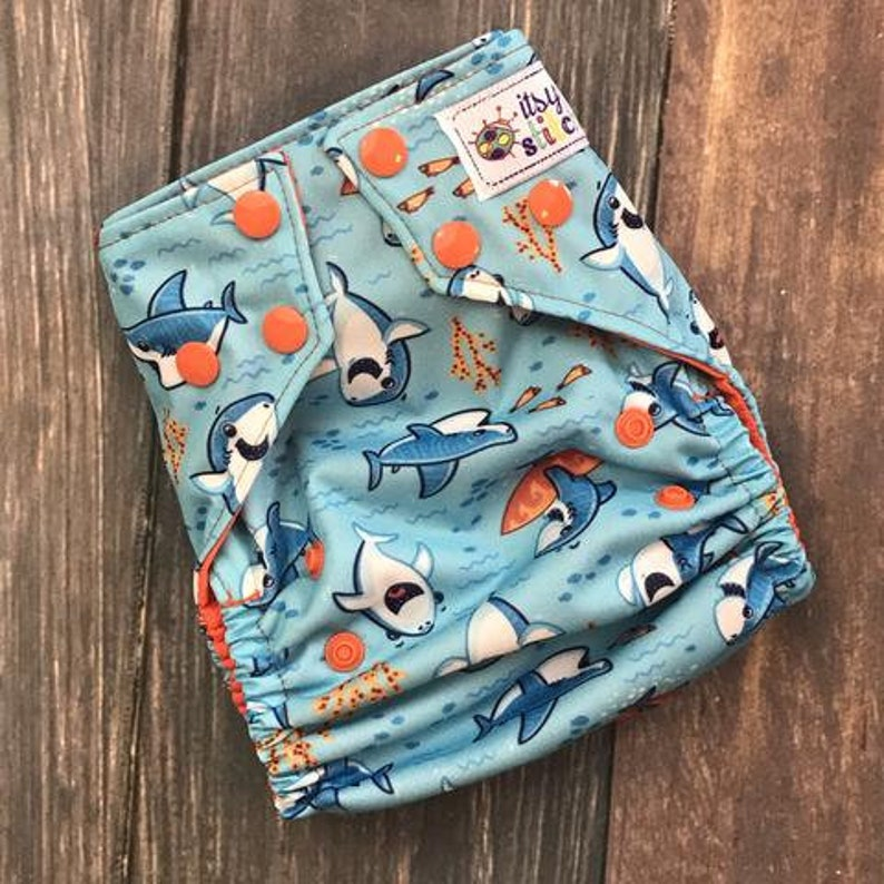 Beachy Sharks OS Pocket Diaper with Insert image 0