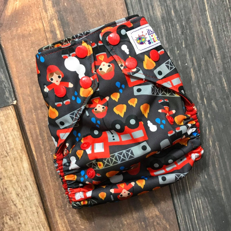 Firemen OS Pocket Diaper with Insert image 0