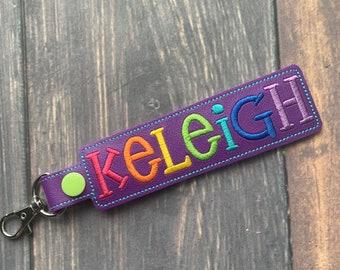 CUSTOM Rainbow Personalized Name Tag Key Fob