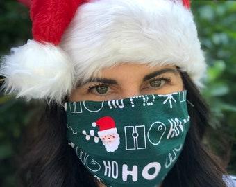Santa Ho Ho Ho Handmade Cotton/Poly Face Mask