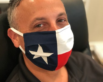 Texas State Flag Handmade Cotton/Poly Face Mask