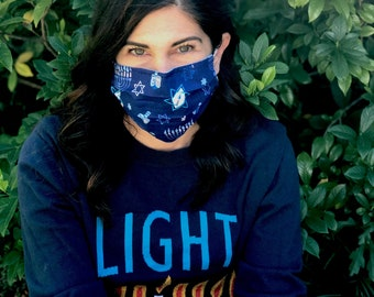 Hanukkah Menorah Handmade Cotton/Poly Face Mask