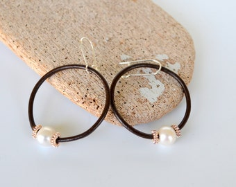 Leather and Pearl Earrings, Dark Brown Leather Loops and Freshwater Pearls and Sterling Silver, Gift Boxed, Clip Ons Available