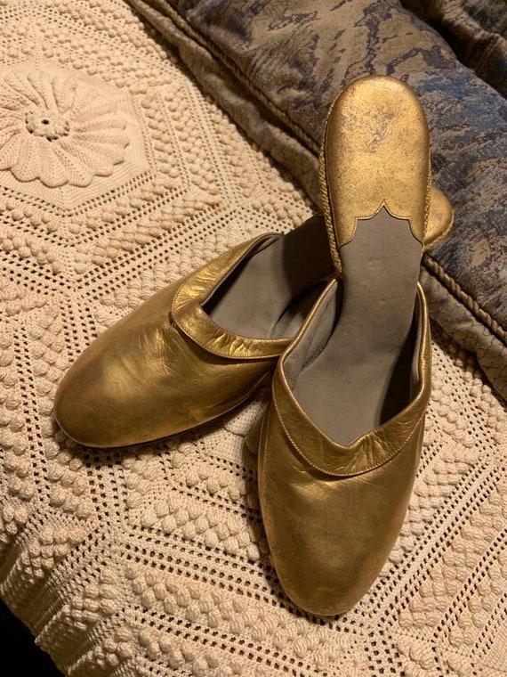 Glamorous Antique Gold Boudoir Slippers