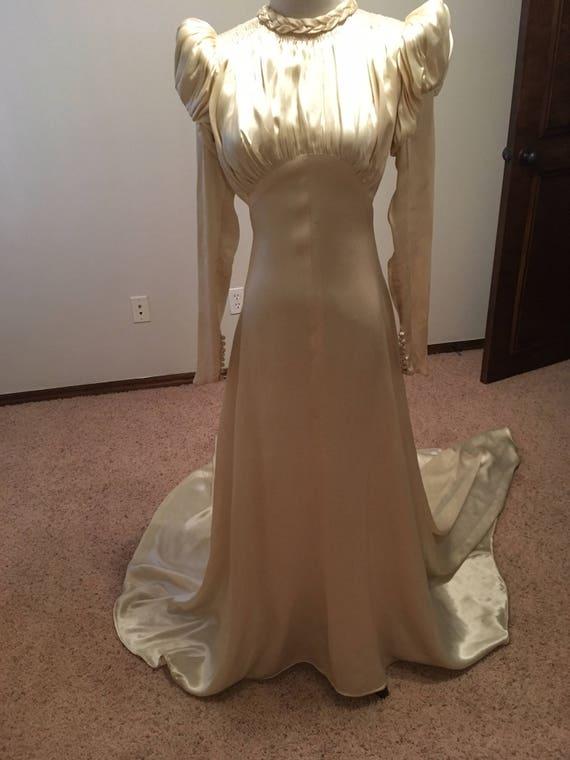 1930s Silk Satin Wedding Gown