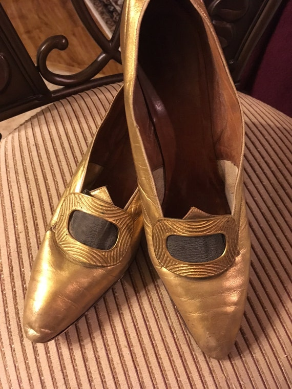 Glittering Gold Edwardian I Miller Evening Shoes