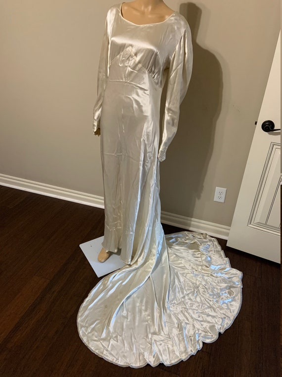 Luscious 1930s Art Deco Satin Wedding Gown