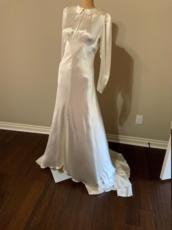 Fantastic 1930s Liquid Satin Wedding Gown