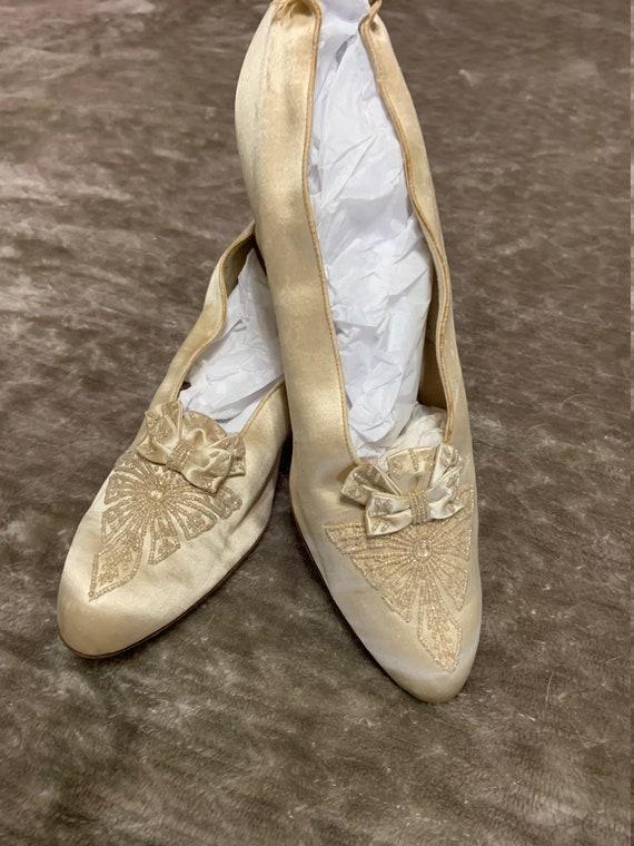Stunning Edwardian Silk Beaded Wedding Shoes