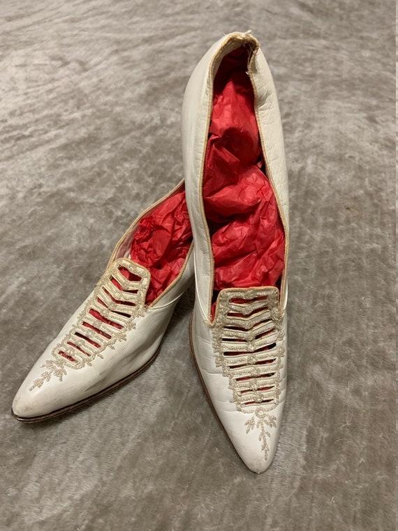 Glorious Edwardian Beaded Leather Wedding Shoes