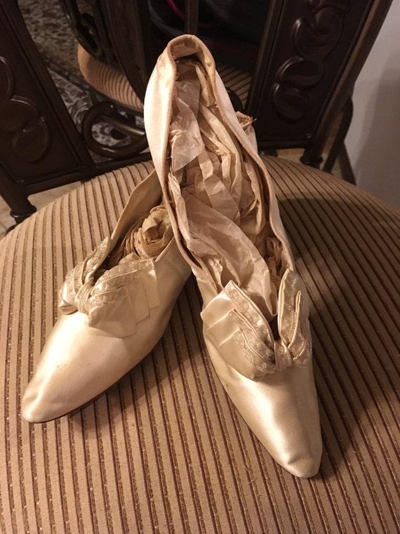 Spectacular Edwardian Beaded Silk Wedding Shoes