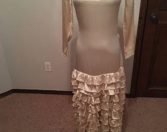 Spectacular 1930s Ruffled Silk Wedding Gown