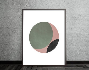 Geometric Print, Abstract, Art, Circle, Poster, Mid Century Modern, Minimalist, Modern, Contemporary