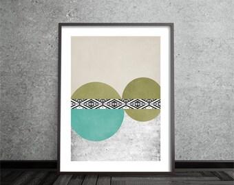Mid Century Modern, Circle,Geometric, Art Print, Abstract, Art, Poster, Minimalist, Modern, Contemporary