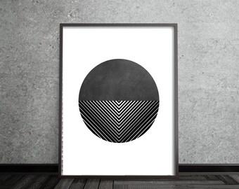 Circle Print, Abstract, Art, Poster, Mid Century Modern, Geometric, Line, Minimalist, Modern, Contemporary