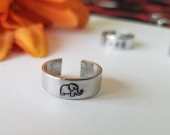 ELEPHANT RING •Hand stamped ring •gift for her • gift for him • Stackable ring •Statement band rings• Thumb ring •midi ring