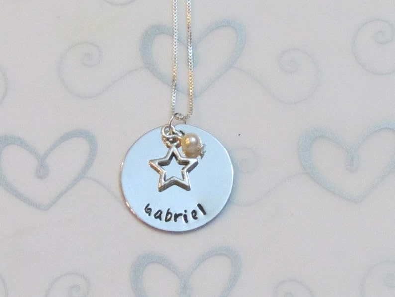 dc3b438e46125 STAR NECKLACE - Hand Stamped Necklace -Personalized Name Necklace - Little  girls jewelry - Gift for her - Gift Box included- Ready to ship