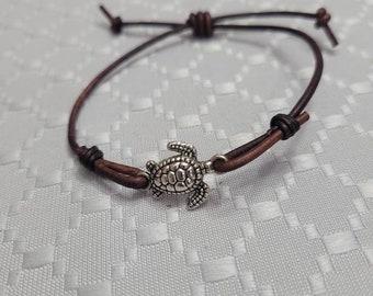 Turtle Leather Bracelet •Unisex Stackable bracelets •sea animal gifts. Simple Adjustable split knot •Boyfriend gift• Gift for her •