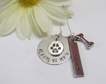 LOSS of PET• Always in my Heart• Personalized necklace• Sterling Silver chain •pet remembrance gift• Gift box included