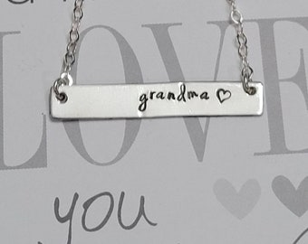 Personalized Grandma Bar Necklace •Sterling Silver Necklace •gift for grandma• gift for her