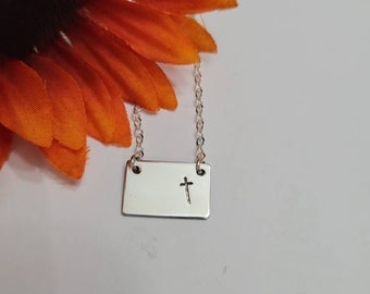 Cross Necklace  •Hand Stamped Jewelry -Religious Necklace• Gift for her• Mothers Day Necklace•  Ready to Ship •Gift box included