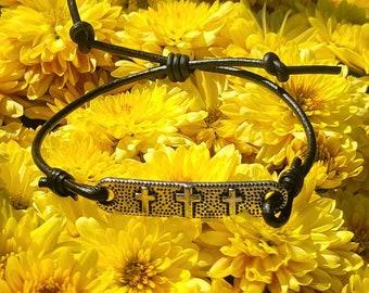 Cross Leather Bracelet •Unisex Stackable bracelets •Sweetheart• Simple Adjustable split knot •Boyfriend gift• Gift for her •ready to ship