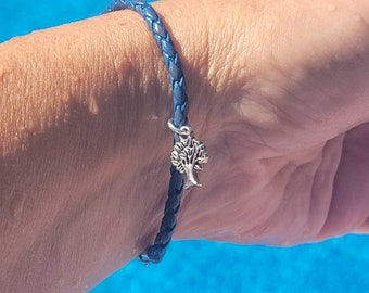 Braided Leather Bracelet• silver magnetic clasp•  gift for him• family tree charm• gifts for her •gifts for him
