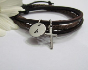 1st Communion gifts for Girls •Girls Leather Bracelet with initial• Silver cross Bracelet• Confirmation gifts