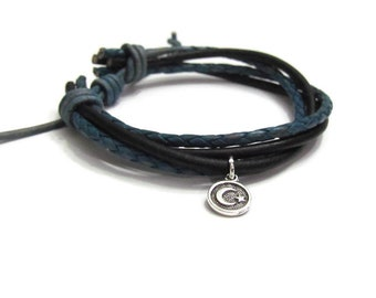 Leather Bracelet• Moon and Star Charm • Gift for her • Gift for him• Crescent Moon •Girls Leather bracelet •Vintage Blue and Black