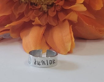 NAME RING •Hand stamped ring •gift for her • gift for him • Stackable ring •Statement band rings• Thumb ring •midi ring