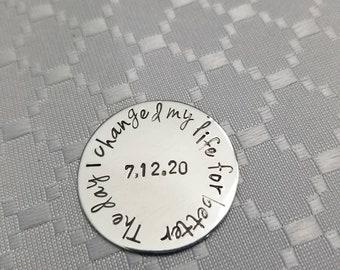 Sobriety date token • personalized token • sober gift • custom token • coin token