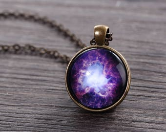 Crab Nebula Necklace - Purple Crab Nebula Image Necklace - Galaxy Series
