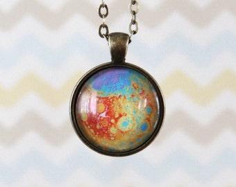 Planet Necklace, Moon, Photograph Glass Pendant Necklace (G005)