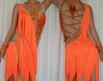 ebef43d3d7f1 Orange Fringe Latin / Salsa / Rumba Dance Dress