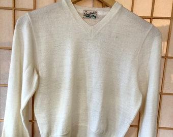 SALE 1920s 1930s pullover sweater vneck cream wool columbiaknit . Deco men unisex neutralsportswear