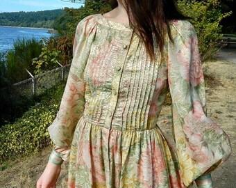 Gold Puffy Sleeve Dress