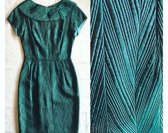sale 1950s wiggle dress . Shimmery teal cocktail bombshell hourglass dress 60s . Ooak 60s pinup party
