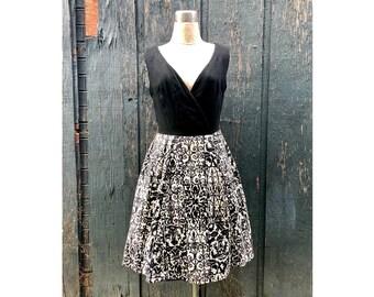 1960s black and white dress . Deep Vneck soft textured linen silk canvas vtg designer Rothschild
