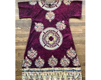 Mandala dashiki kaftan . Cotton splash dyed caftan boho bohemian hippie loungeware