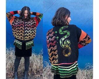 Art to wear sweater jacket . Rainbow serpent snake dip dyed. Wearable art . Janet Lipkin ooak jacket