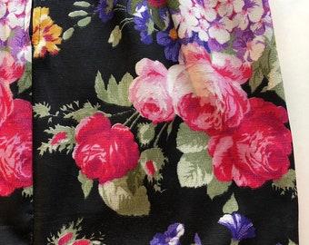 vtg 90s Black floral mini dress . Bodycon fitted tank sleeveless moody midnight rose garden